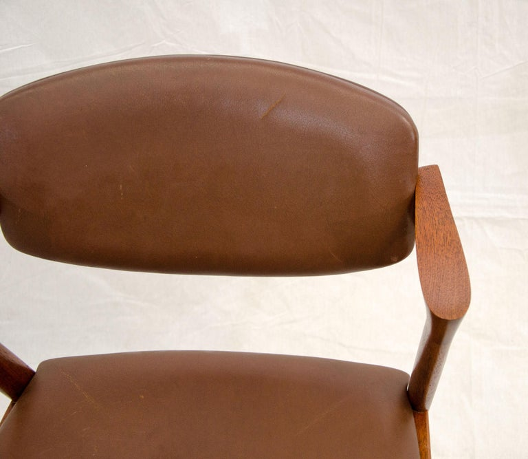 Set of Six Danish Teak Dining Chairs, Kai Kristiansen, Model 42 For Sale 5