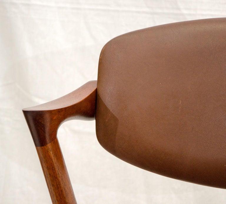 Set of Six Danish Teak Dining Chairs, Kai Kristiansen, Model 42 For Sale 9