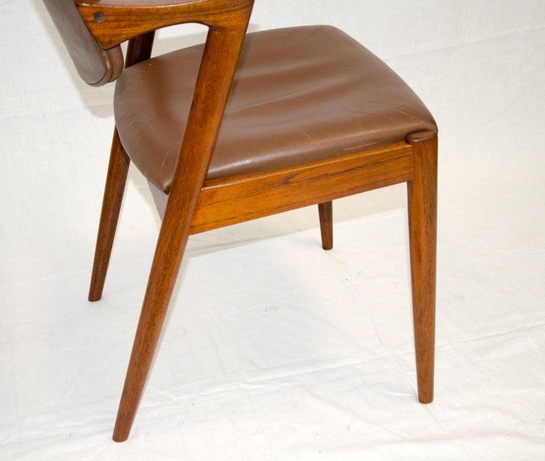 Set of Six Danish Teak Dining Chairs, Kai Kristiansen, Model 42 For Sale 10
