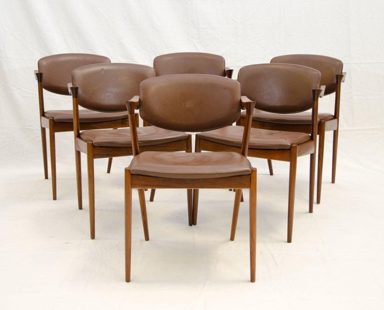 This set of six Danish teak dining chairs are also commonly described as Kai Kristiansen