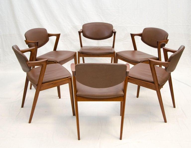 Scandinavian Modern Set of Six Danish Teak Dining Chairs, Kai Kristiansen, Model 42 For Sale