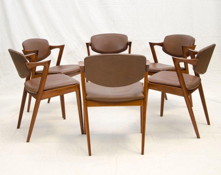 Set of Six Danish Teak Dining Chairs, Kai Kristiansen, Model 42 In Good Condition For Sale In Crockett, CA