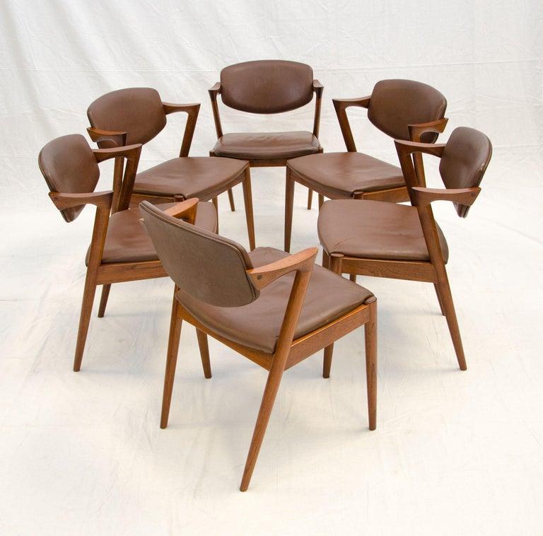 20th Century Set of Six Danish Teak Dining Chairs, Kai Kristiansen, Model 42 For Sale