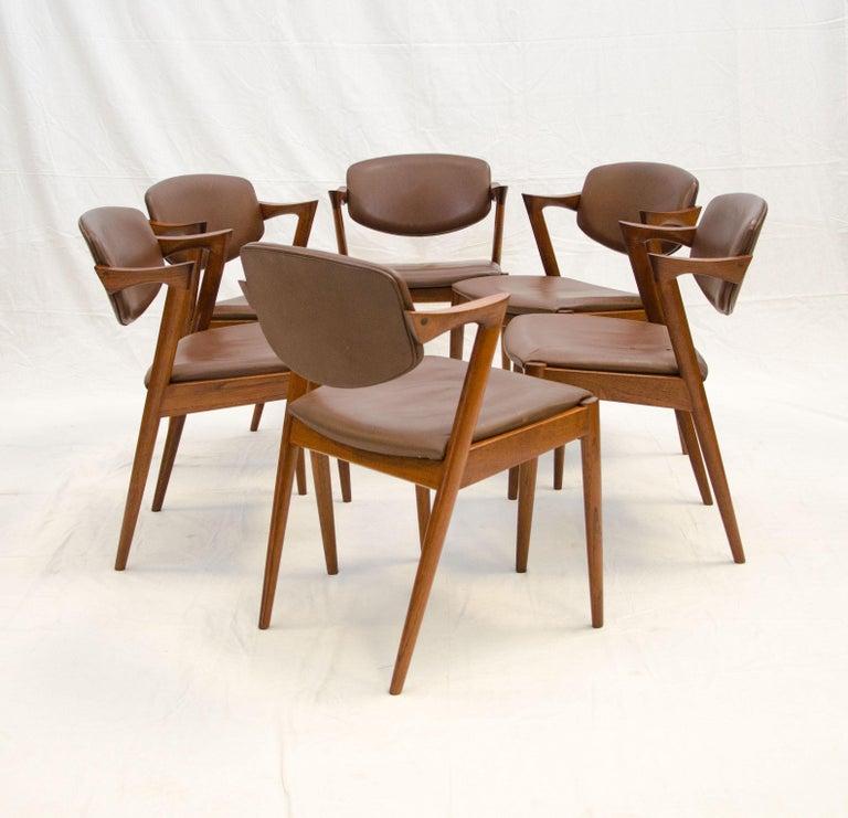 Set of Six Danish Teak Dining Chairs, Kai Kristiansen, Model 42 For Sale 1