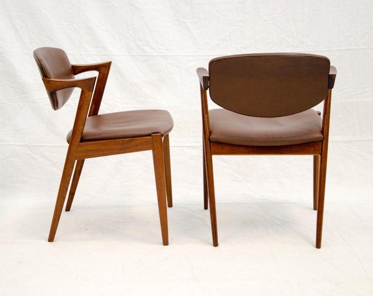 Set of Six Danish Teak Dining Chairs, Kai Kristiansen, Model 42 For Sale 2