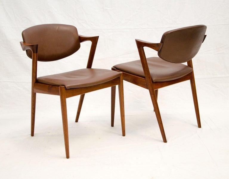 Set of Six Danish Teak Dining Chairs, Kai Kristiansen, Model 42 For Sale 3