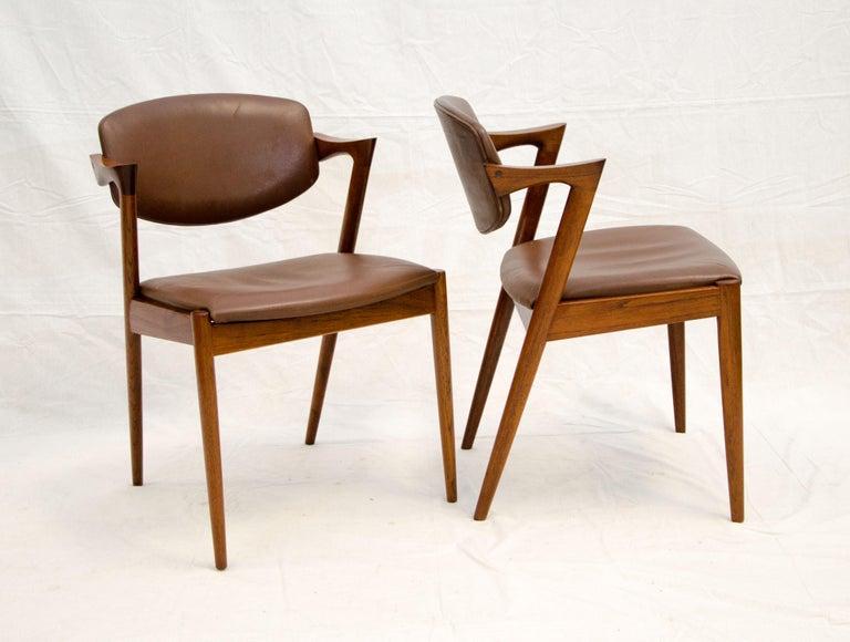 Set of Six Danish Teak Dining Chairs, Kai Kristiansen, Model 42 For Sale 4