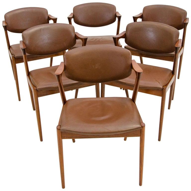 Set of Six Danish Teak Dining Chairs, Kai Kristiansen, Model 42 For Sale