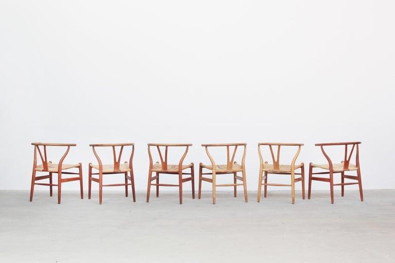 Set of Six Danish Wishbone Chairs CH 24 by Hans J. Wegner for Carl Hansen Oak In Good Condition For Sale In Berlin, DE