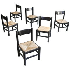 Set of Six Dark Brown Dining Chairs in Style of Charlotte Perriand, France, 1960