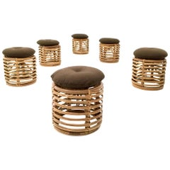 Set of Six Dark Brown Wicker Children's Stools by Tito Agnoli, Italy, 1960s