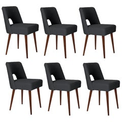 Set of Six Dark Gray Boucle 'Shell' Chairs, 1960s