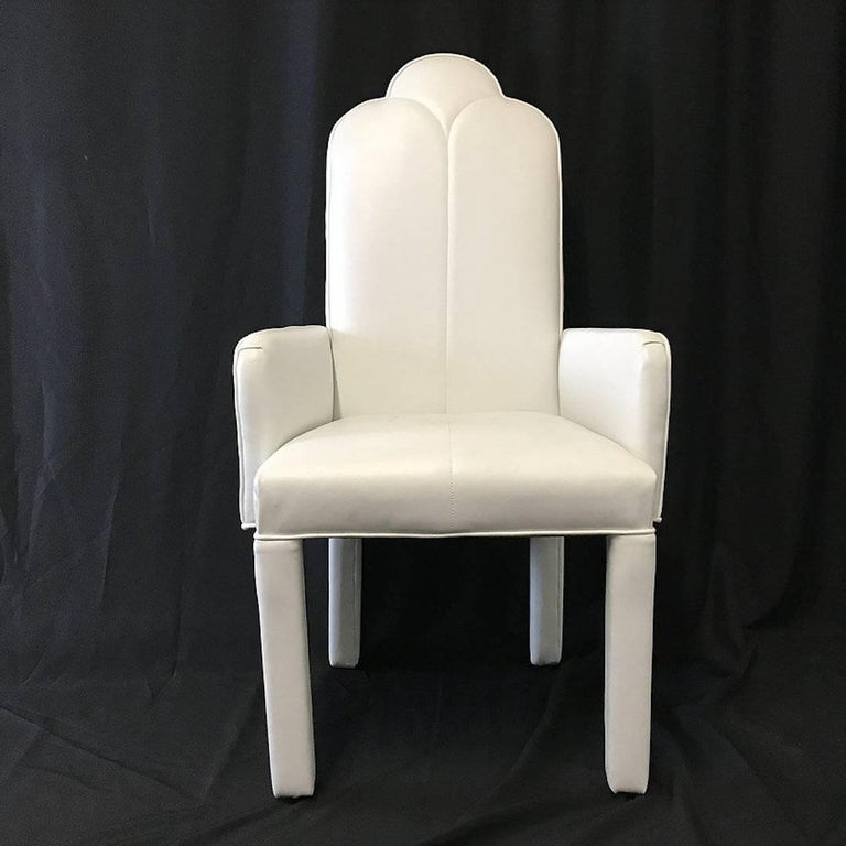 Set of Six Deco Parson Style White Vinyl Dining Chairs In Good Condition For Sale In Dallas, TX
