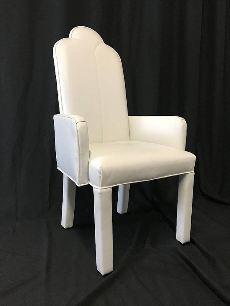 20th Century Set of Six Deco Parson Style White Vinyl Dining Chairs For Sale