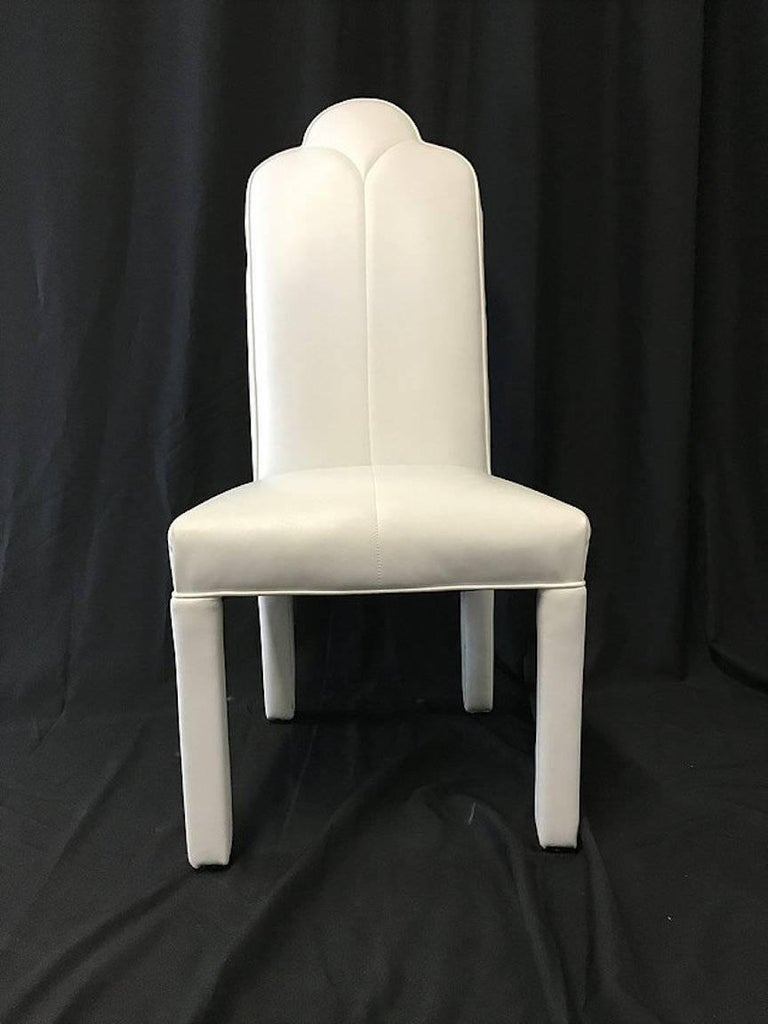 Set of Six Deco Parson Style White Vinyl Dining Chairs For Sale 1
