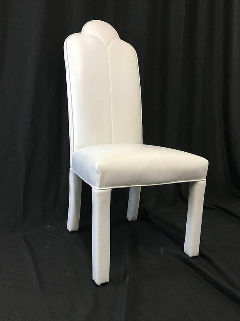Set of Six Deco Parson Style White Vinyl Dining Chairs For Sale 2