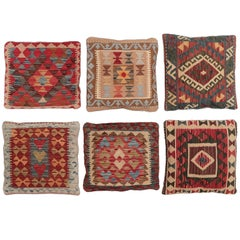 Set of Six Decorative Pillows, Vintage Kilim Pilows