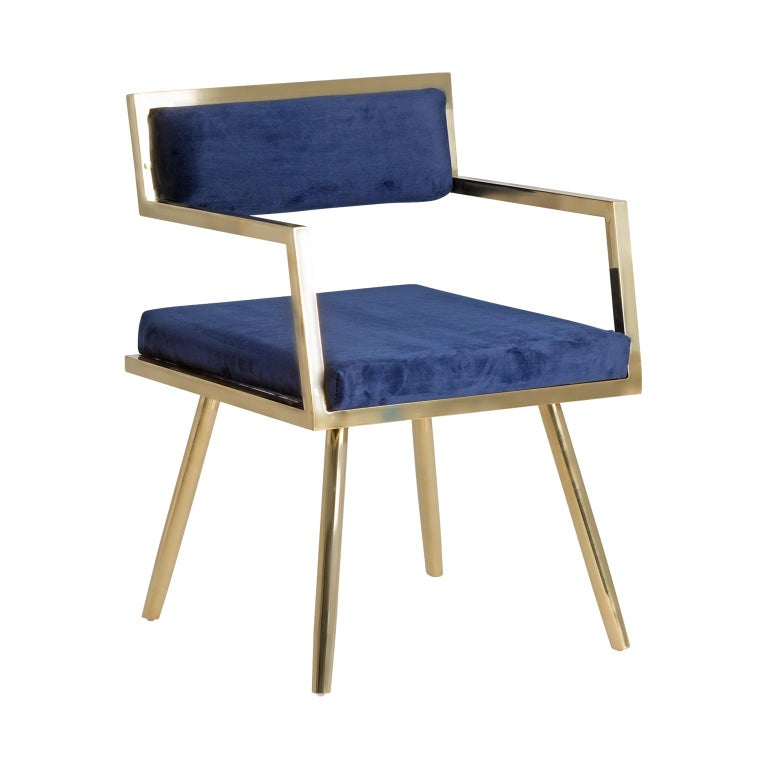Set of six dining armchairs in deep blue velvet and gilded metal with outstanding shape, comfortable, and so trendy!