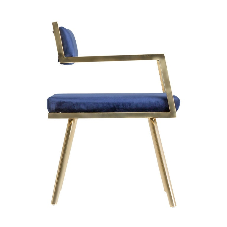 Art Deco Set of Six Dining Armchairs in Deep Blue Velvet and Gilded Metal For Sale