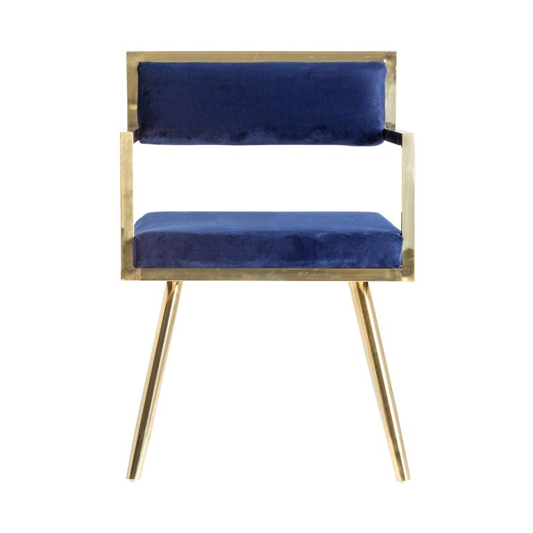 Set of Six Dining Armchairs in Deep Blue Velvet and Gilded Metal For Sale 2
