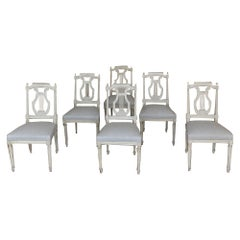 Set of Six Dining Chairs, 19th Century, Painted, French Louis XVI