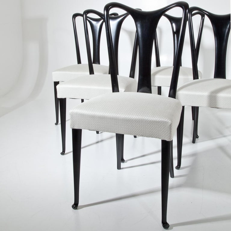 Set of Six Dining Chairs, Attributed to Guglielmo Ulrich, Italy 1940s 11