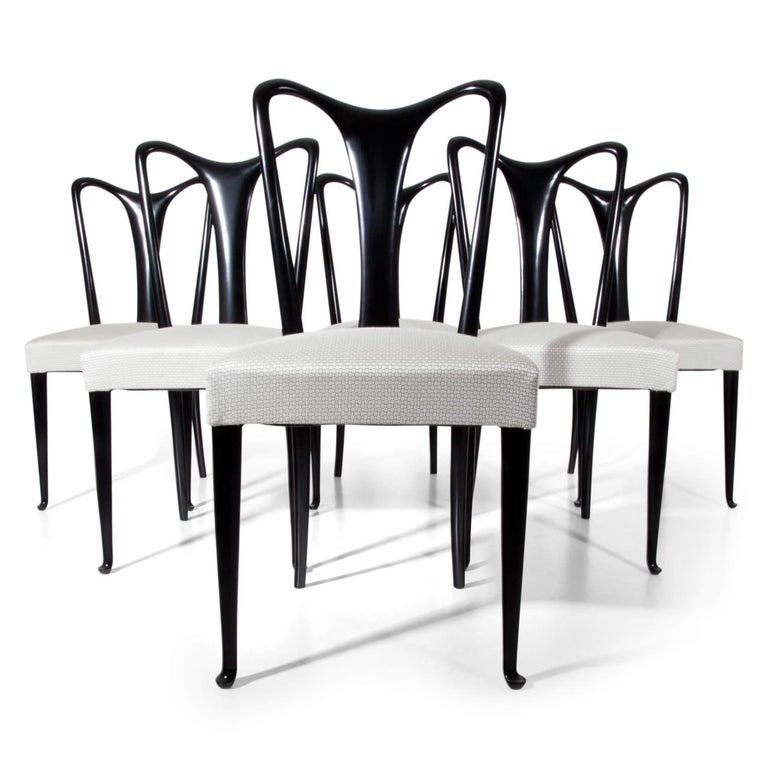 Set of Six Dining Chairs, Attributed to Guglielmo Ulrich, Italy 1940s 6
