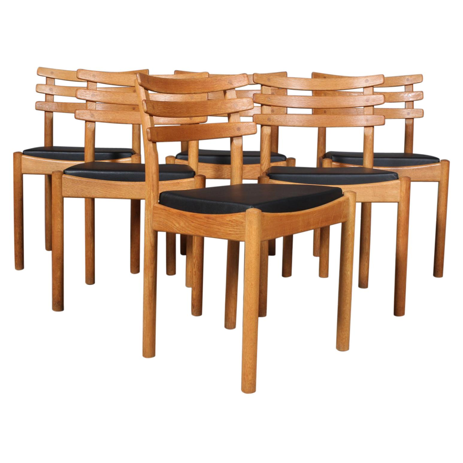 Set of Six Dining Chairs Attributed to Poul Volther, Oak and Leather