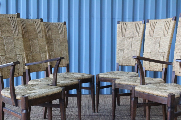 Set of Six Dining Chairs by Audoux-Minet, France, 1950s In Good Condition For Sale In Los Angeles, CA