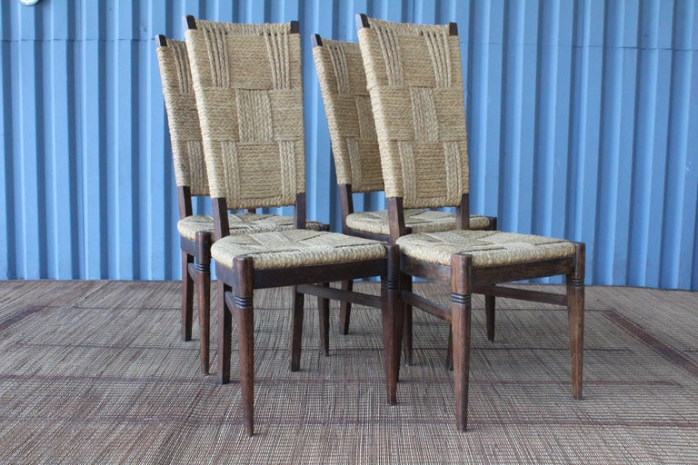 Mid-20th Century Set of Six Dining Chairs by Audoux-Minet, France, 1950s For Sale