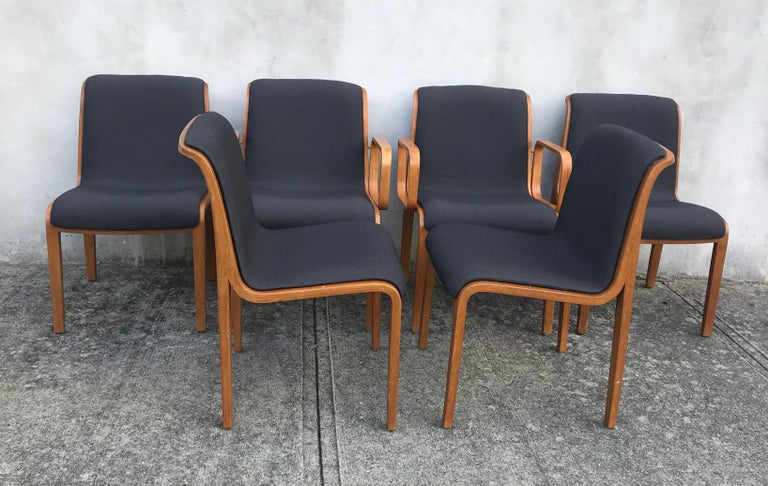 American Set of Six Bent Wood Upholstered Dining Chairs by Bill Stephens for Knoll For Sale