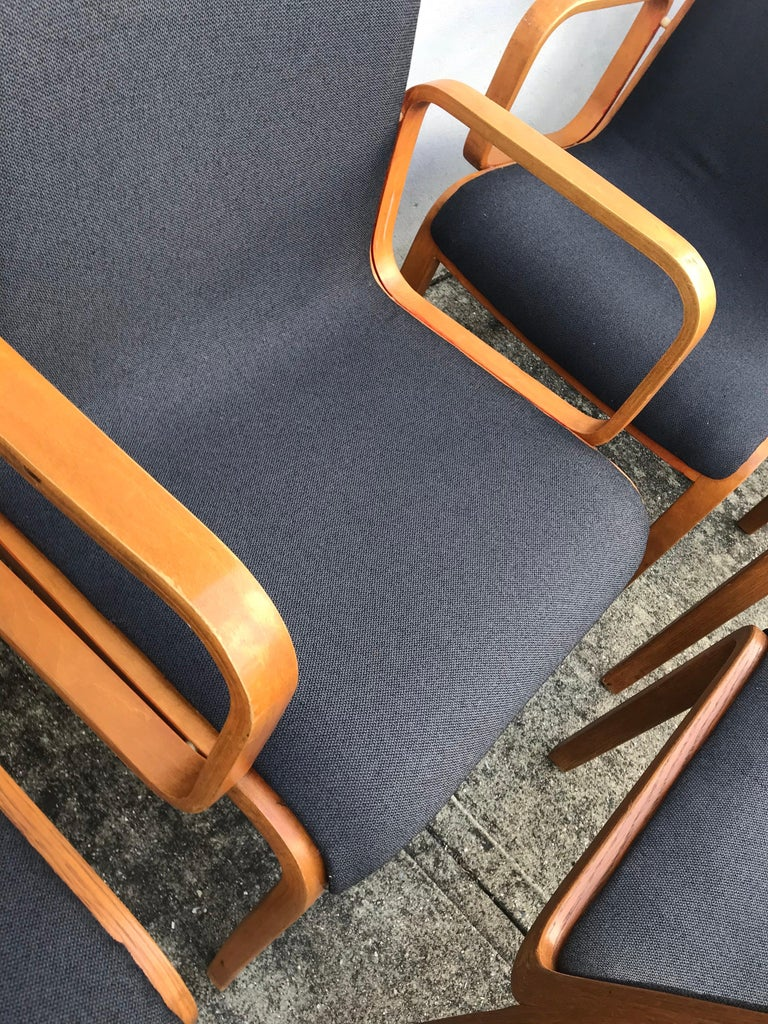 Late 20th Century Set of Six Bent Wood Upholstered Dining Chairs by Bill Stephens for Knoll For Sale