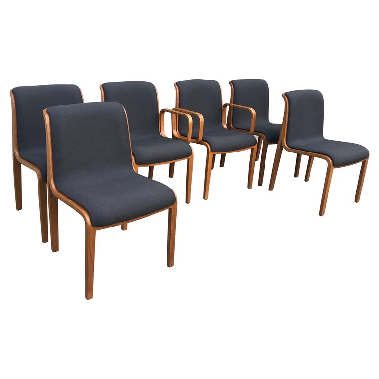 Set of Six Bent Wood Upholstered Dining Chairs by Bill Stephens for Knoll For Sale