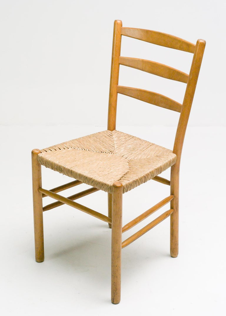 Rush Set of Six Dining Chairs by Cees Braakman For Sale