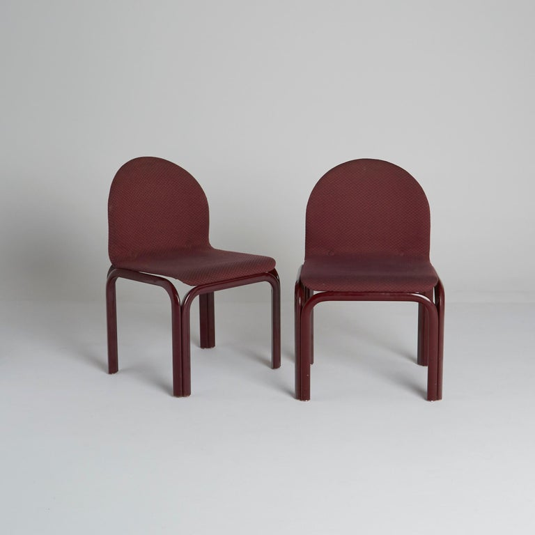 Post-Modern Set of Six Dining Chairs by Gae Aulenti for Knoll International, Signed, 1970s For Sale