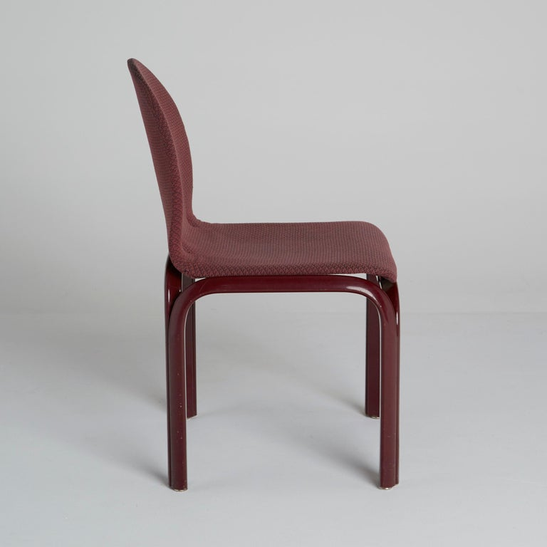 Lacquered Set of Six Dining Chairs by Gae Aulenti for Knoll International, Signed, 1970s For Sale