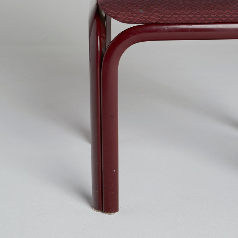 Fabric Set of Six Dining Chairs by Gae Aulenti for Knoll International, Signed, 1970s For Sale