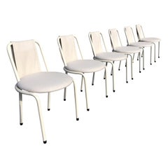 Set of Six Dining Chairs by Giovannetti, Italy, Gae Aulenti Style, White