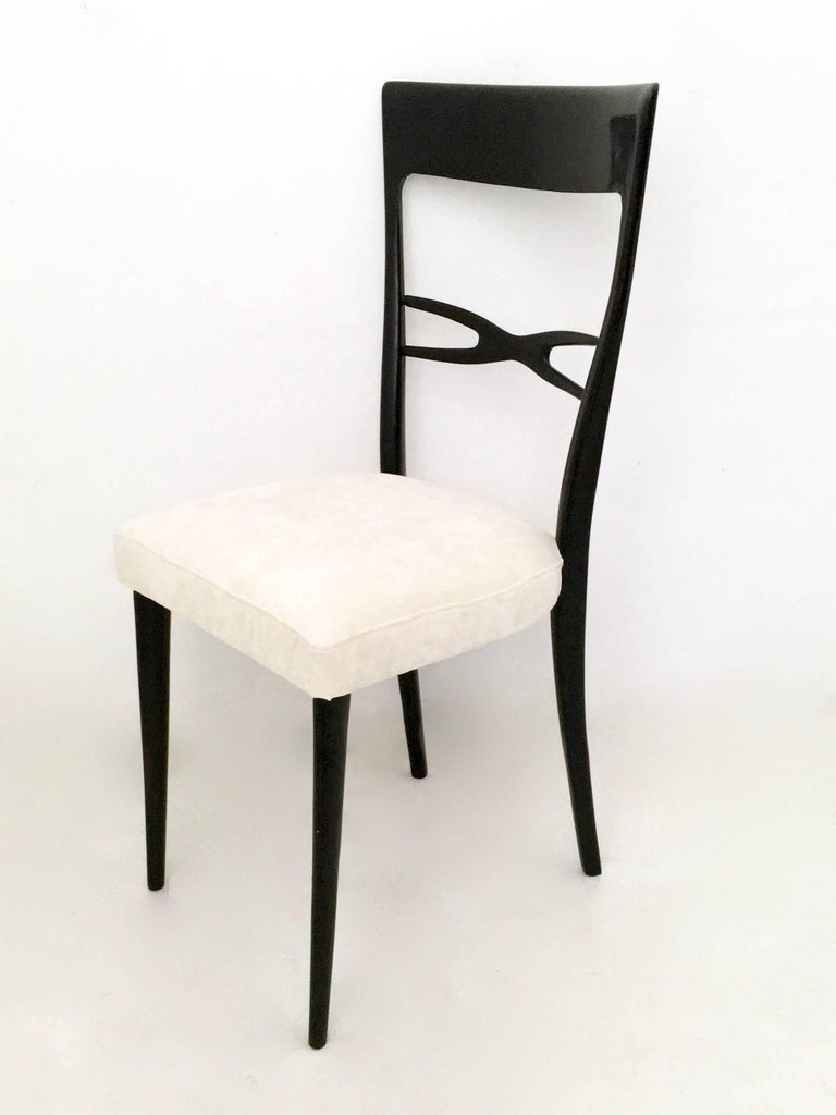 Ebonized Set of Six Dining Chairs by Melchiorre Bega, Italy, Late 1940s-Early 1950s For Sale