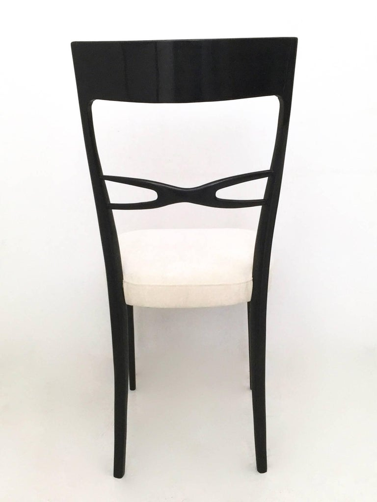 Set of Six Dining Chairs by Melchiorre Bega, Italy, Late 1940s-Early 1950s In Excellent Condition For Sale In Bresso, Lombardy