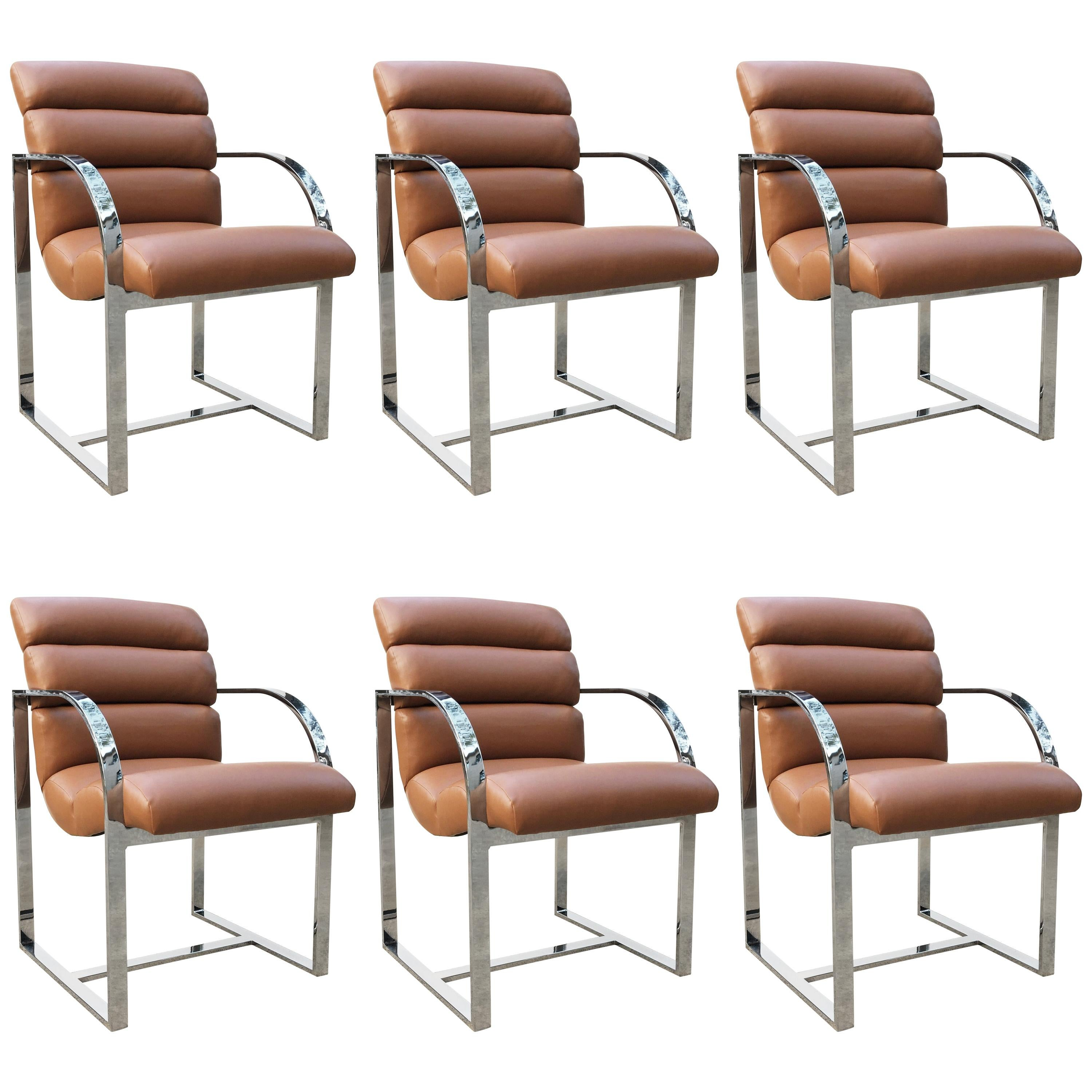 Set of Six Dining Chairs by Milo Baughman for Thayer Coggin