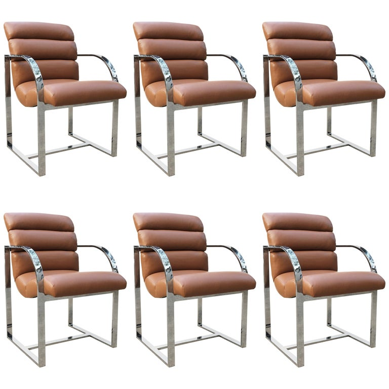 Set of Six Dining Chairs by Milo Baughman for Thayer Coggin For Sale