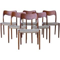 Set of Six Dining Sessel von Niels Moller, Denmark, 1960er Jahre