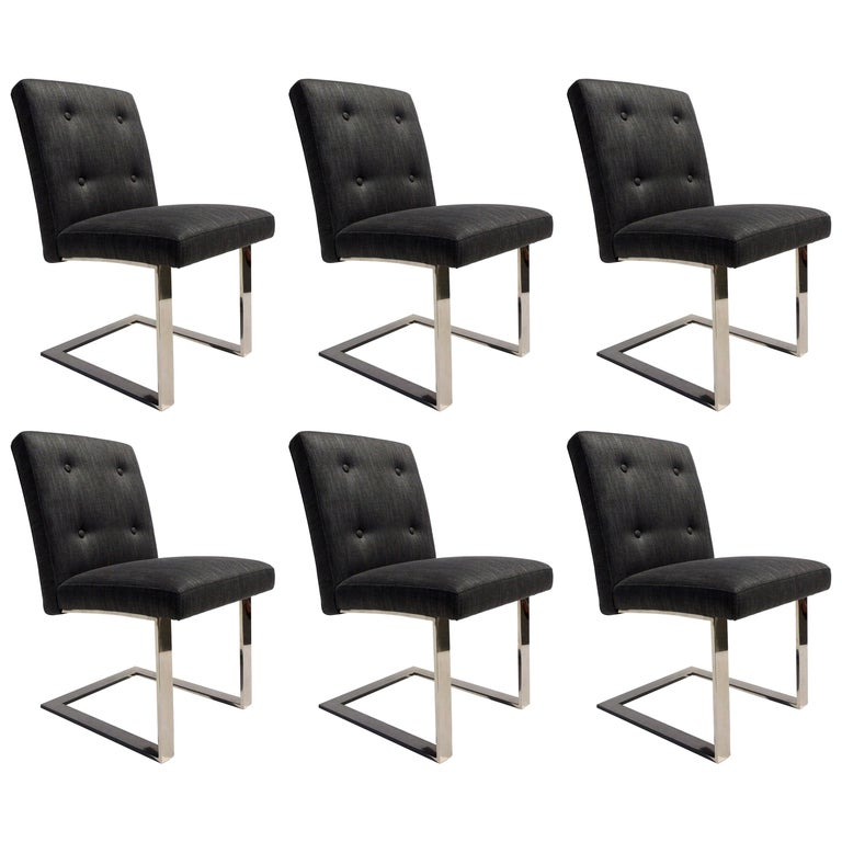 Set of Six Dining Chairs by Paul Evans for Directional, Mid-Century Modern For Sale