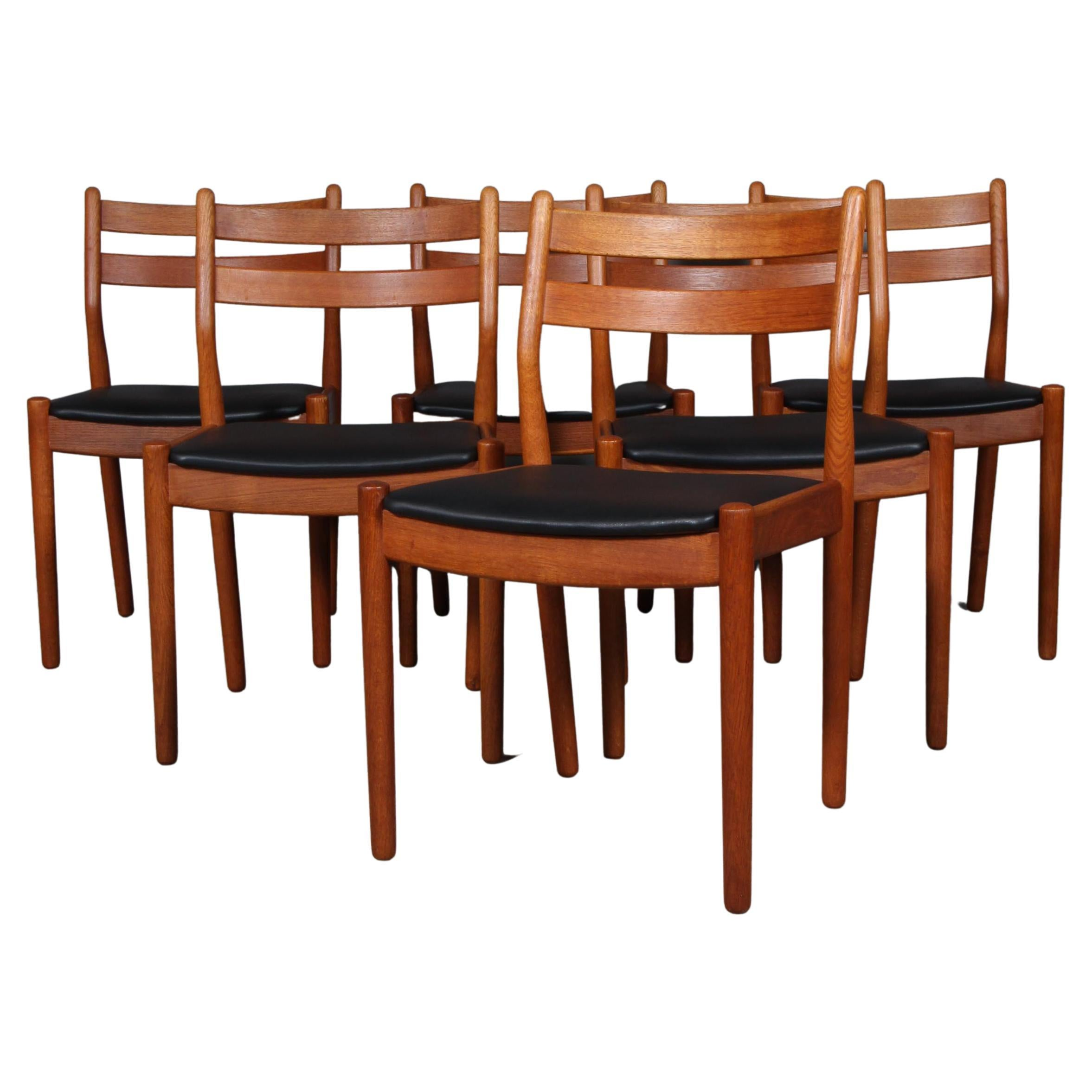 Set of Six Dining Chairs by Poul Volther, Oak and Leather