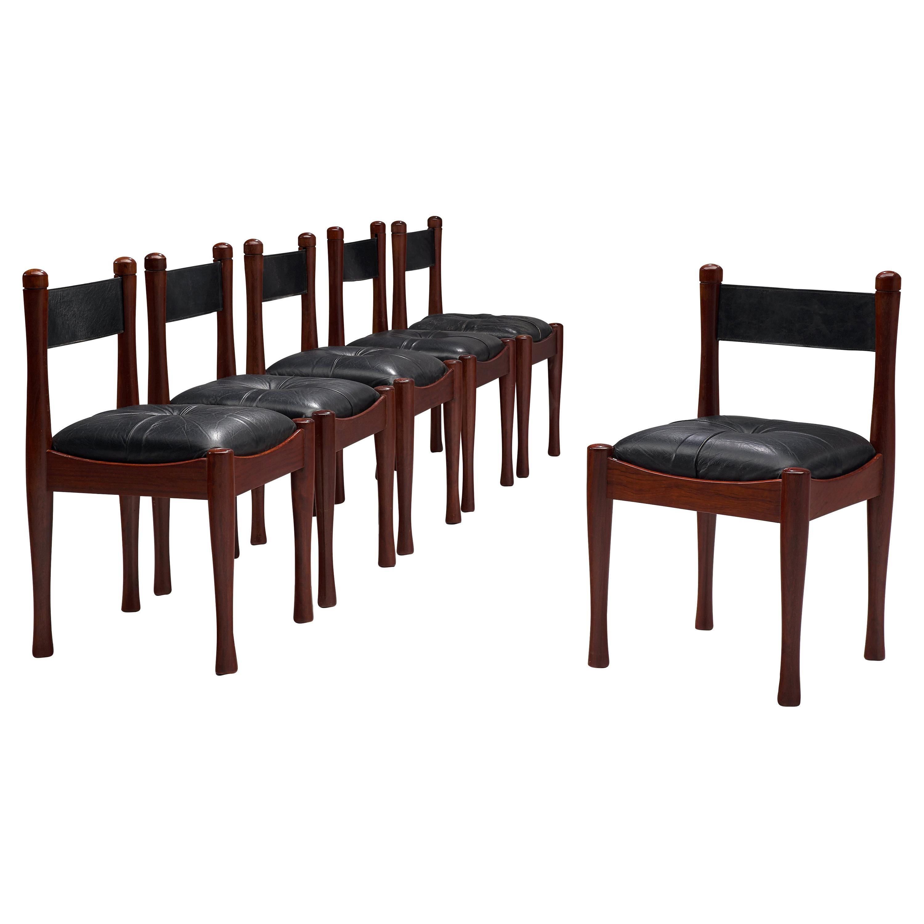 Set of Six Dining Chairs by Silvio Coppola in Stained Wood and Leather
