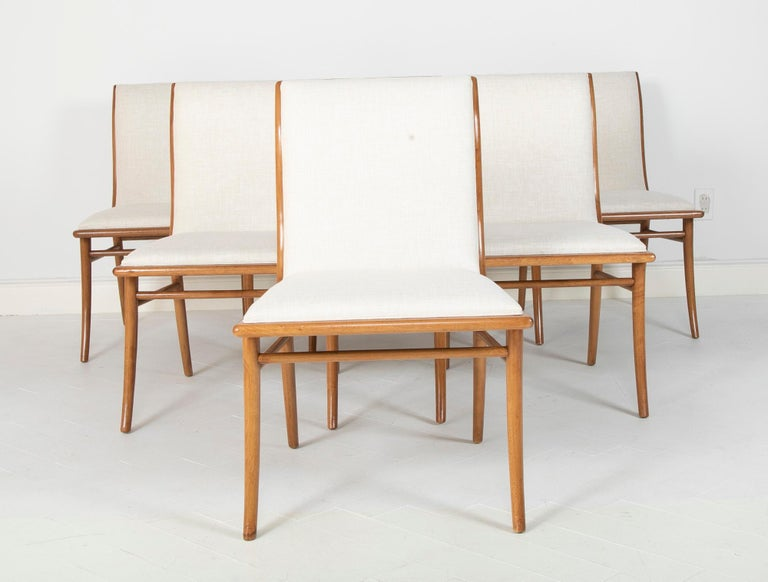Mid-Century Modern Set of Six Dining Chairs by T.H Robsjohn-Gibbings For Sale