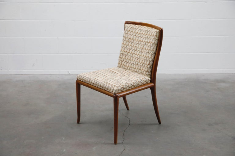 Walnut Set of Six Dining Chairs by T.H. Robsjohn-Gibbings for Widdicomb, 1950s For Sale