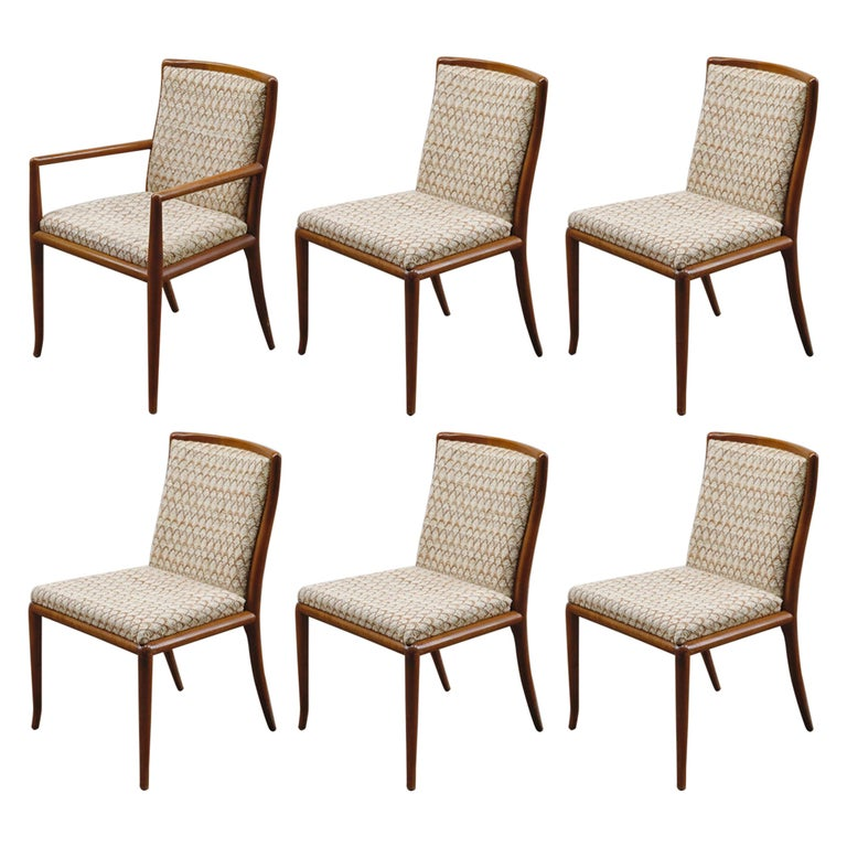 Set of Six Dining Chairs by T.H. Robsjohn-Gibbings for Widdicomb, 1950s For Sale