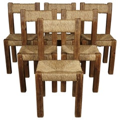 Set Of Six Dining Chairs From France, Circa 1950